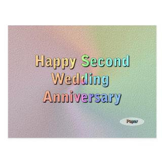 Segundo aniversario de boda feliz tarjetas postales