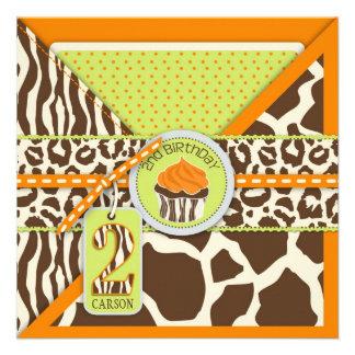 Segundo cumpleaños anaranjado del safari y de la m anuncio personalizado