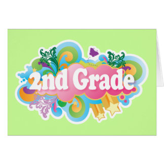 Segundo grado retro colorido tarjeta de felicitación