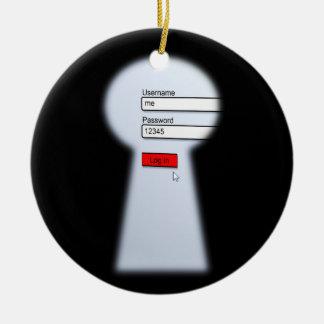 Seguridad de la contraseña adorno navideño redondo de cerámica