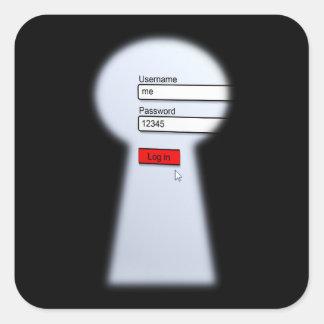 Seguridad de la contraseña pegatina cuadrada