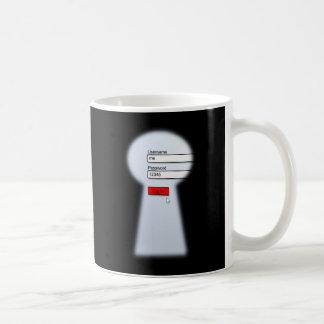 Seguridad de la contraseña taza de café