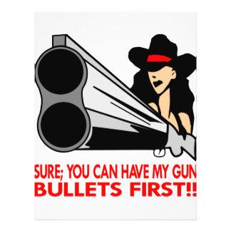 Seguro usted puede tener mis balas del arma primer tarjetas informativas