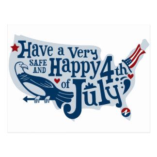 Seguro y feliz el 4 de julio postal