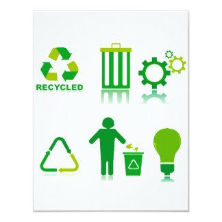 seis diseños de reciclaje en one.png invitación 10,8 x 13,9 cm