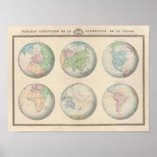 Seis mapas hemisféricos del mundo póster