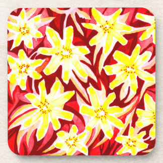 Seis prácticos de costa florales rojos y amarillos posavasos