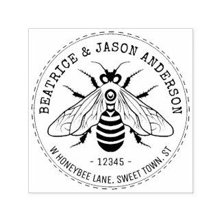 Sello Automático Abeja de la abeja que casa el nombre del | y el