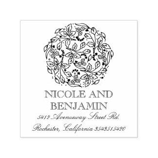 Sello Automático Boda floral y elegante del ramo del vintage