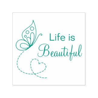 Sello Automático Corazón de la mariposa - la vida es hermosa