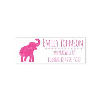 Sello Automático dirección linda del elefante rosado