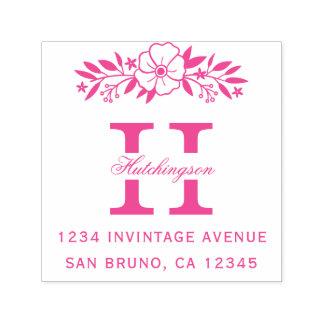 Sello Automático Flores rosadas y remite del monograma del apellido