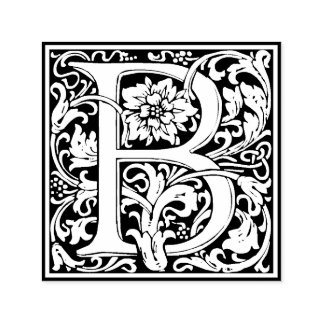 Sello Automático Monograma floral de la letra B del vintage