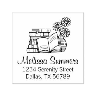 Sello Automático Pila de libros, libro abierto, flores - dirección