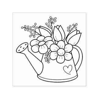 Sello Automático Regadera del jardín con las flores