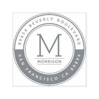 Sello Automático Remite del monograma gris contemporáneo elegante