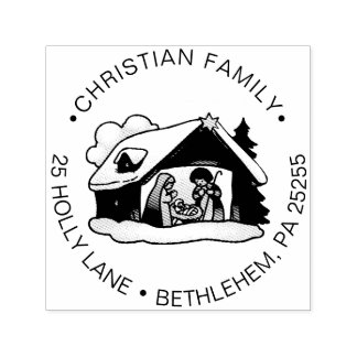 Sello Automático Remite del navidad de la familia religiosa de la
