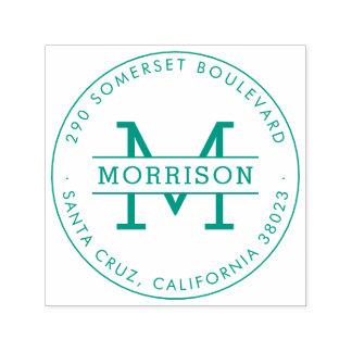 Sello Automático Remite redondo verde del monograma y del apellido