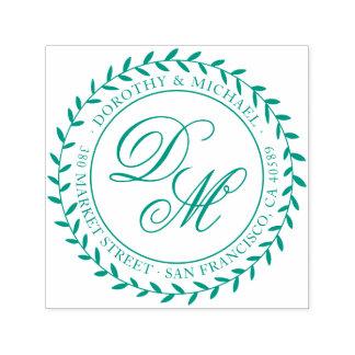 Sello Automático Remite verde de las iniciales de la guirnalda y de