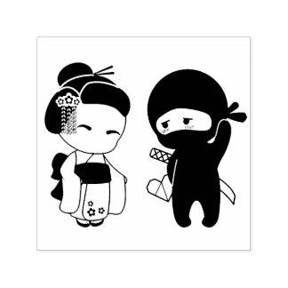 Sello Automático Tarjeta del día de San Valentín Ninja y geisha