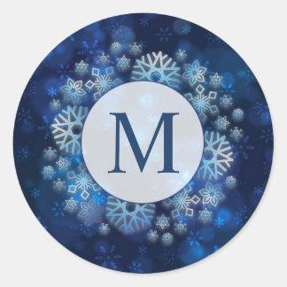 Sello azul fresco del pegatina del monograma el |