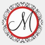 Sello blanco y negro del boda de la franja roja etiqueta redonda