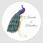 Sello colorido elegante del sobre del boda del pegatina redonda