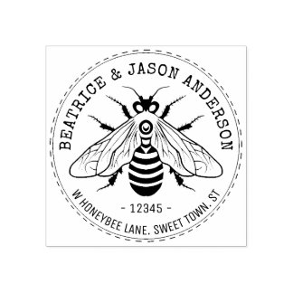 Sello De Caucho Abeja de la abeja que casa el nombre del | y el