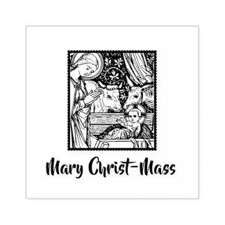 Sello De Caucho Arte tradicional de la natividad de la Cristo-Masa
