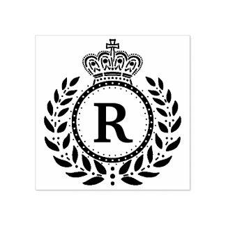 Sello De Caucho Blanco negro real del monograma el | de la corona