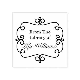 Sello De Caucho Blanco y negro de la biblioteca del Bookplate