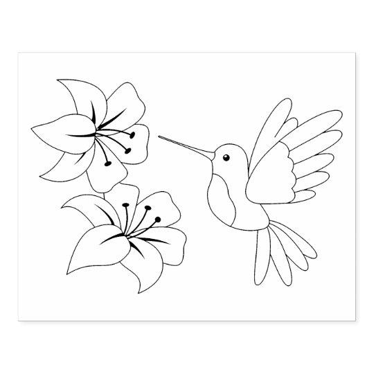 Sello De Caucho Colibrí y flores que colorean la página | Zazzle.es