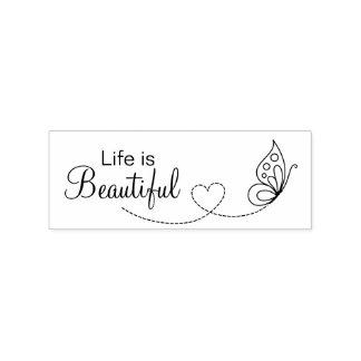 Sello De Caucho Corazón de la mariposa - la vida es hermosa