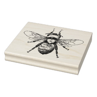 Sello De Caucho Ejemplo del vintage de la abeja
