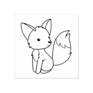 Sello De Caucho El pequeño Fox lindo me colorea