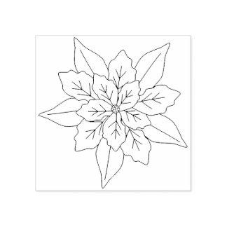 Sello De Caucho Flor del Poinsettia, navidad floral del
