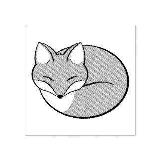 Sello De Caucho Fox el dormir, grabado al agua fuerte