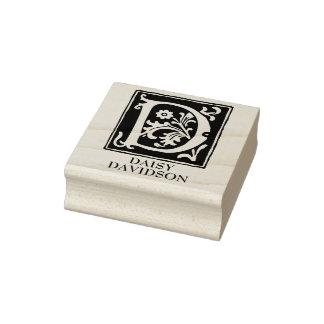 Sello De Caucho Letra ornamental D del alfabeto personalizada