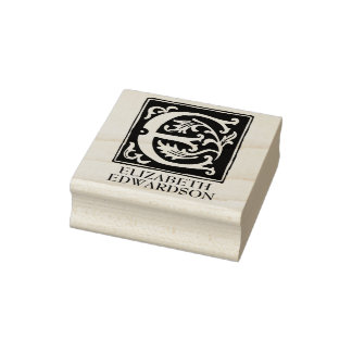 Sello De Caucho Letra ornamental E del alfabeto personalizada