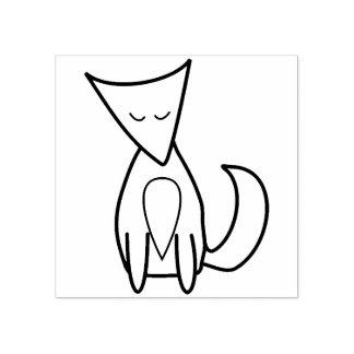 Sello De Caucho Línea linda dibujo del Fox del arbolado del