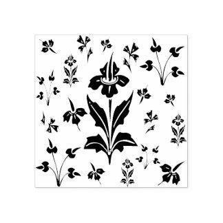 Sello De Caucho Modelo botánico de las flores florales de los
