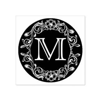 Sello De Caucho Monograma enmarcado floral del círculo