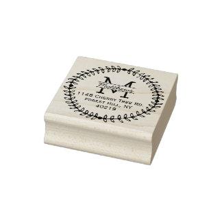 Sello De Caucho Monograma floral elegante del personalizado de la