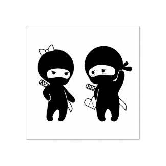 Sello De Caucho Pares de Ninja, un muchacho y un chica