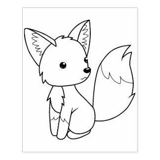 Sello De Caucho Pequeña página linda del colorante del Fox