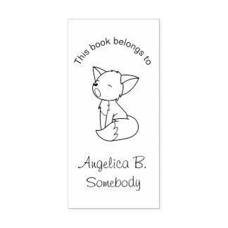 Sello De Caucho Pequeño Bookplate soñoliento del Fox