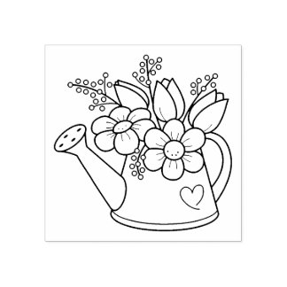 Sello De Caucho Regadera del jardín con las flores