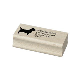 Sello De Caucho Remite de la silueta de Terrier de mojón