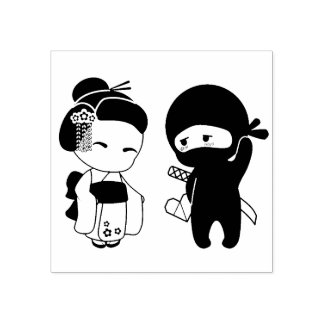 Sello De Caucho Tarjeta del día de San Valentín Ninja y geisha