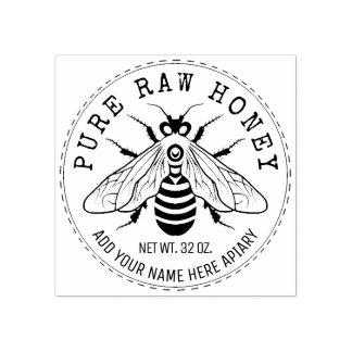 Sello De Caucho Tarro de la miel que etiqueta el colmenar de la